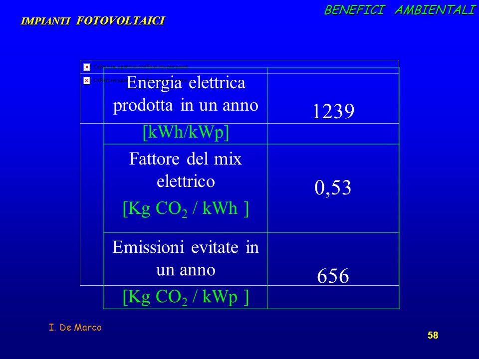 1239 0,53 656 Energia elettrica prodotta in un anno [kWh/kWp]
